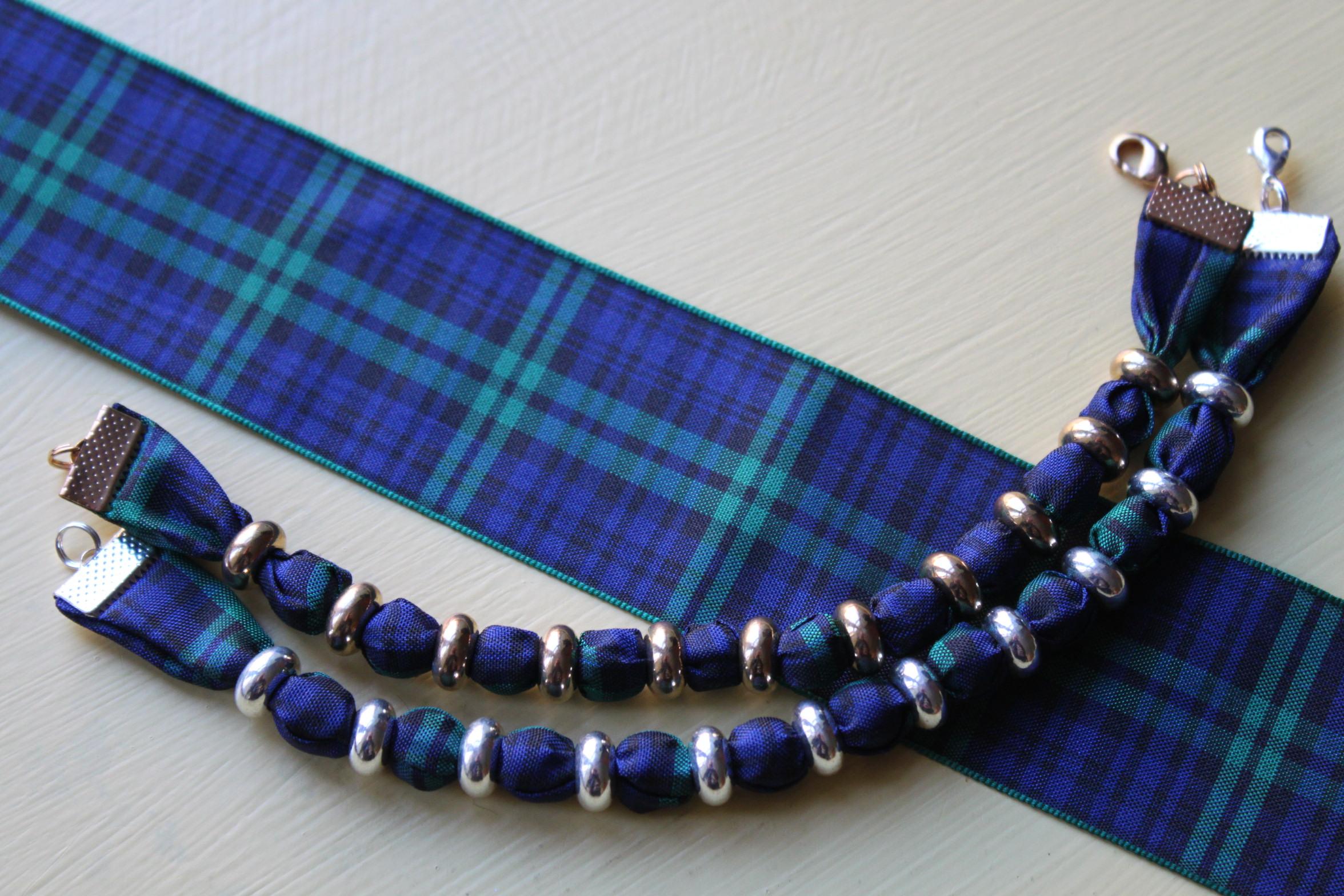 Black Watch Tartan Bracelet Blue, green and black plaid 2