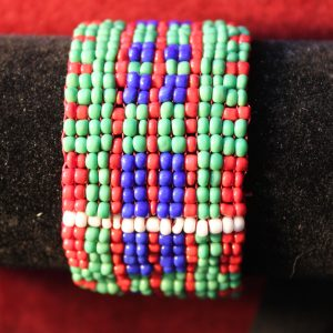 McDonald Beaded cuff bracelet with silver clasp